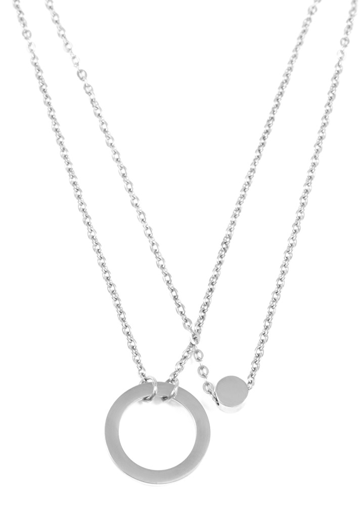Circle Hoop Layered Pendant Necklace Silver