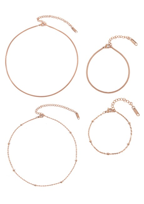 Choker Bracelet Set Rose Gold
