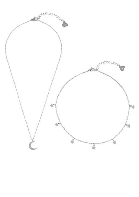 Conjunto de Joyería Collar de Luna Choker de Estrella en Plata