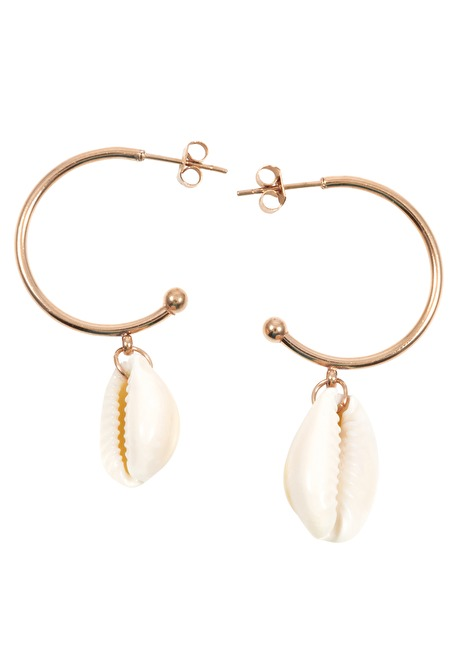 Shell Charm Hoop Earrings Rose Gold
