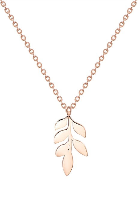 Pretty Leaf Necklace Rose Gold