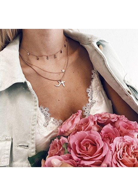 Cross Star Moon Layered Necklace Rose Gold 4