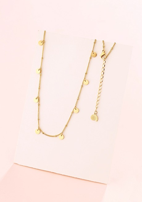 Circles Bobble Chain Necklace Gold 2