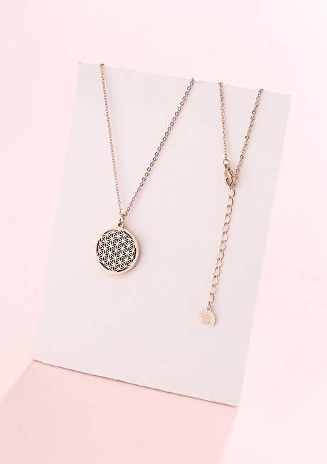 Flower of Life Pendant Necklace Rose Gold 3