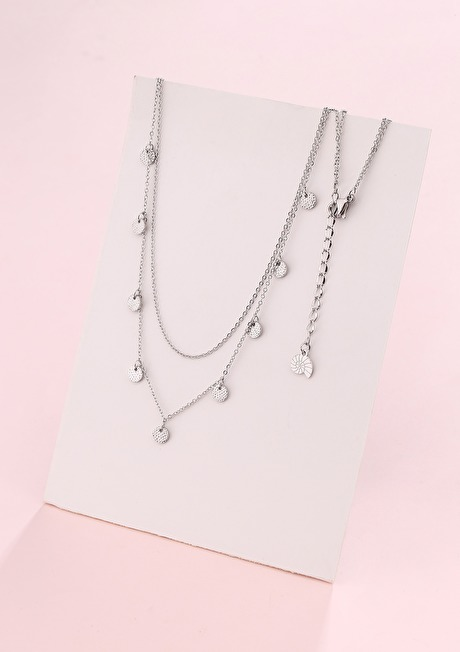 Textured Circle Layered Necklace Silver 2