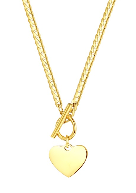 Heart Charm T-Bar Chain Necklace Gold 1