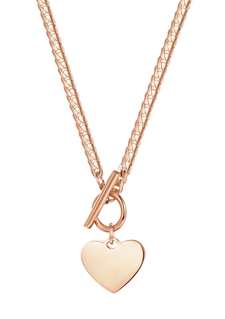 Heart Charm T-Bar Chain Necklace Rose Gold