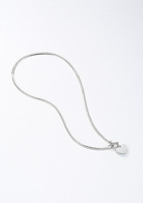 Herz Kette mit T-Steg in Silberfarbe 2