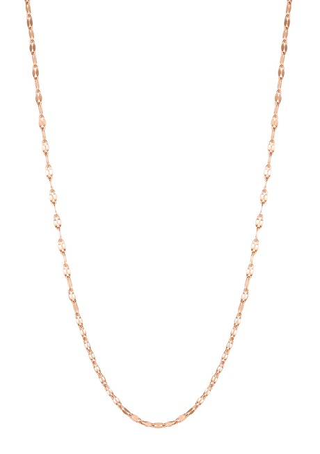 Flattened Rolo Chain Necklace Rose Gold