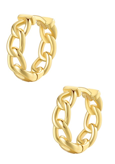 Chunky Chain Huggie Earrings Sterling Silver Gold 1