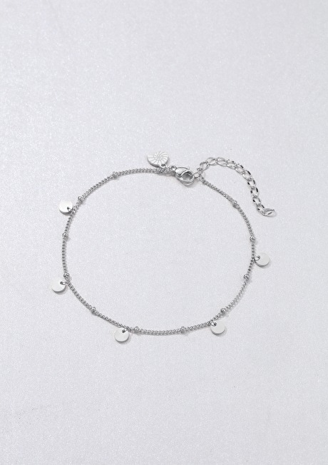 Circles Bobble Chain Anklet Silver 3