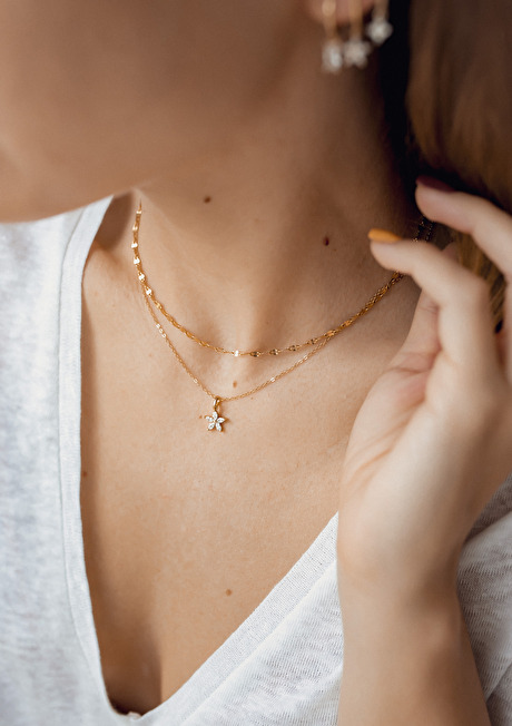 Flattened Rolo Chain Necklace Gold