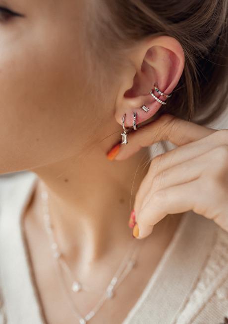 Baguette Gemstone Stud Earrings Sterling Silver 3