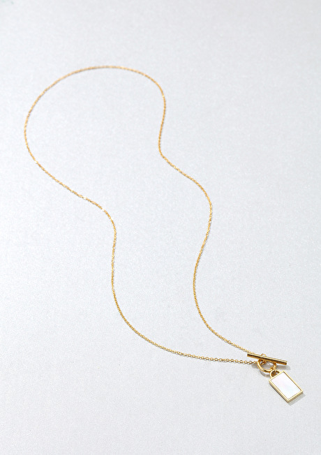 Shell Rectangle Pendant T-Bar Chain Necklace Gold 2