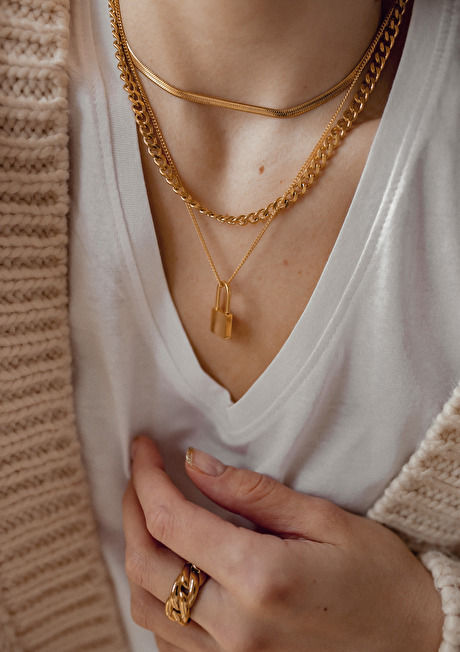 Chunky Curb Chain Necklace Gold 5